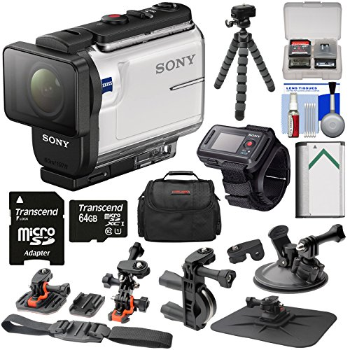 Sony Action Cam HDR-AS300 Wi-Fi HD Video Camera Camcorder & RM-LVR2 Live View Remote with Action Mounts + 64GB Card + Battery + Case + Tripod Kit -  K-96414-10