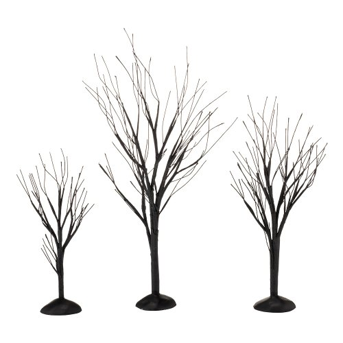 Department 56 4033851 Accessories for Villages Halloween Black Bare Branch Trees, 1.77 - Accessory Village Collectible