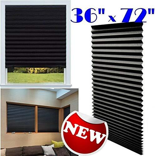 Price comparison product image OlimP-Shop Paper Pleated Shade 36'' x 72'' Window Blind Blackout Light Block Cordless Black