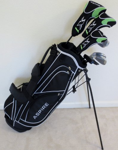 Mens RH Complete Golf Club Set Driver, Fairway Wood, Hybrid, Irons, Putter & Deluxe Stand Bag Regular Flex Superior Quality Right Handed Golf Equipment