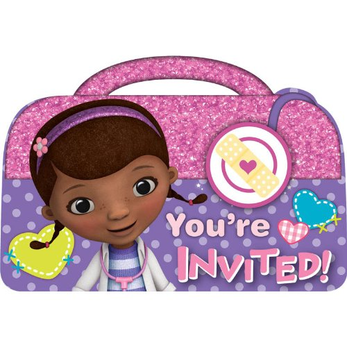 [Doc McStuffins Birthday Party Invitations Cards Supply (8 Pack), Pink/Purple, 4 1/4