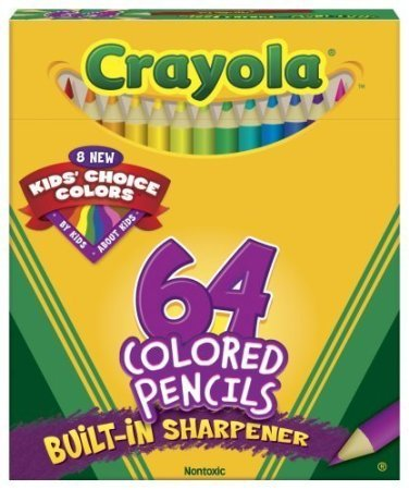 Crayola® Box Of 64 Coloring Pencils Includes 8 Kids' Color Choice Short Color Pencils (Pack of 2)]()