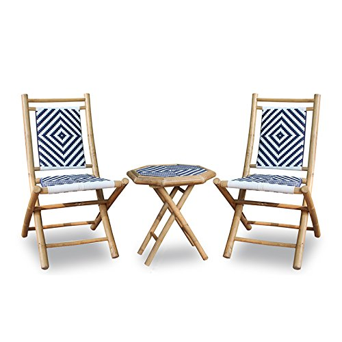Heather Ann Creations W26210-NNBW 3-Piece Bamboo Bistro Set with Diamond Weave, Natural and Black/White For Sale