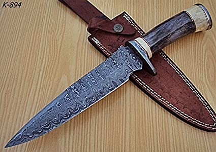 REG K-894 Handmade Damascus Steel 13.00 Inches Hunting Bowie Knife - Camel Bone Handle with Damascus Steel Guards