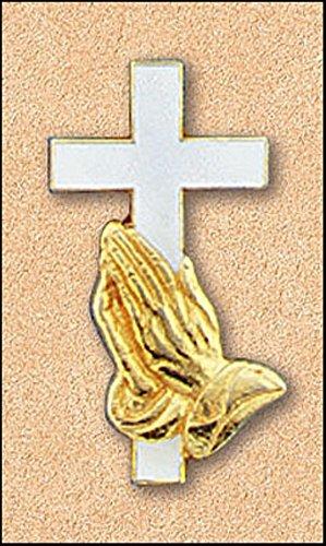 Cross & Praying Hands Gold Plated Lapel Pin - Gold Cross Lapel Pin