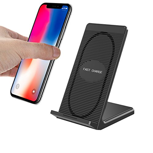 Fast Wireless Charger,QI FastWirelessCharging Pad Stand Built-in Cooling Fan for iPhone X,iPhone 8,iPhone 8 Plus and Samsung Galaxy Note 8, S8, S8 Plus, S7, S7 Edge, S6 Edge Plus, Note5