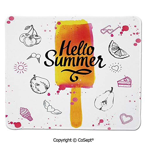Premium-Textured Mouse pad,Hello Summer Motivational Quote with Lime Heart Sun Cake Color Splash Image,Water-Resistant,Non-Slip Base,Ideal for Gaming (11.81