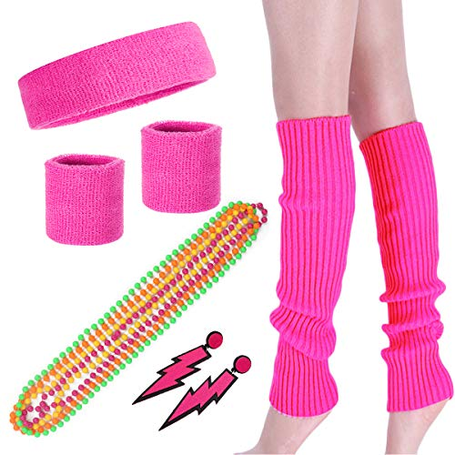 Costume 80s Fancy Outfit Accessories Set - Neon Running Headband Leg Warmers (Set 1)