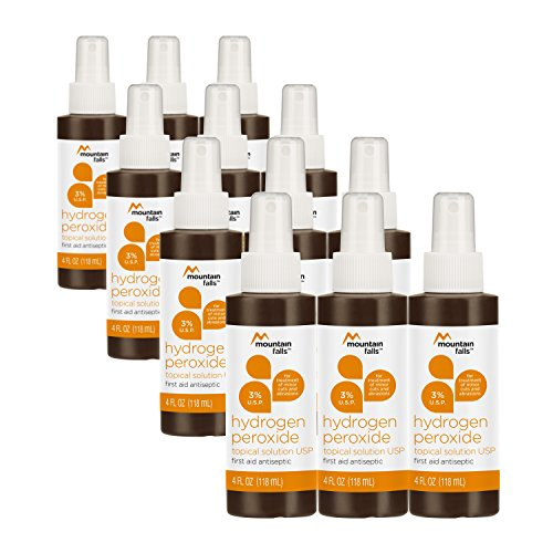 Mountain Falls 3% Hydrogen Peroxide Topical Solution First Aid Antiseptic for Treatment of Minor Cuts and Abrasions, Spray Bottle, 4 Fluid Ounce (Pack of 12) ()