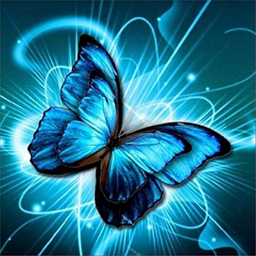 DIY 5D Diamond Painting,Dartphew Magical Blue Ray Goddess Butterfly & Blue Light - Crafts & Sewing Cross Stitch,Wall Stickers for Home Living Room Decoration(Butterfly,Size:30X30cm) ()