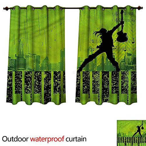cobeDecor Popstar Party Outdoor Balcony Privacy Curtain Music in The City W120 x L72(305cm x 183cm)