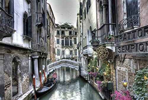 OFILA Italy Venice Backdrop 6x4ft Gondola Italian Palazzo Canal Lagoon Bridging Channel Ancient Buildings Watertown Background Adult Travel Themed Party Decoration Peofessional Photos Video Props -