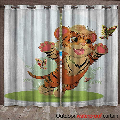 BlountDecor Cartoon Outdoor Waterproof Curtain Cub Playing with Butterflies in The Meadow Joyful Lively Baby Tiger CatW120 x L108 Orange Cream Green
