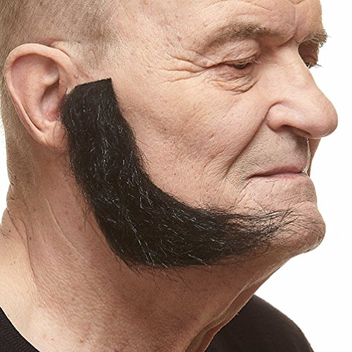 Mustaches Realistic, L Shaped Fake Mutton Chops Sideburns, -