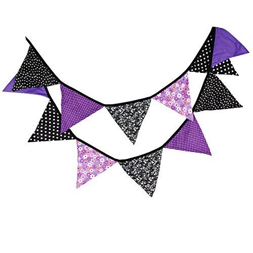 JUNDA Halloween Vintage Floral Cotton Triangle Flag,Banner Bunting