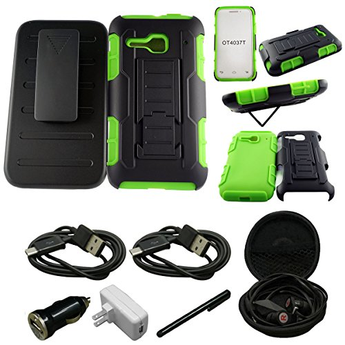 For LG TRIBUTE LS660/F60/MS395 - [Kickstand] [Heavy Duty] [Dual Layer] Combo Holster Cover case with [Locking Belt Swivel Clip] - Includes + [Car Charger Data Cable] + [Touch Screen Stylus] + [Wall Plug] + [2 Data Cables] + [Hands Free Earphone] (GREEN)