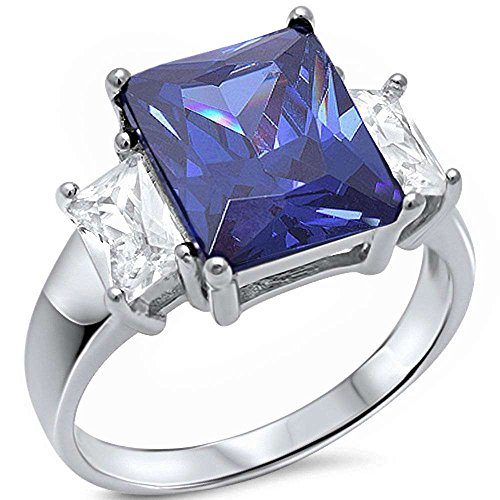 Radiant Cut Simulated Tanzanite & Baguette Cubic Zirconia .925 Sterling Silver Ring Sizes 10 ()
