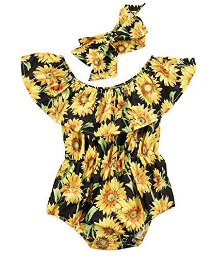 Newborn Baby Girls Sunflower Romper Off Shoulder Bodysuit Jumpsuit Sunsuit Outfits Set Clothes (Black, 0-6 Months)