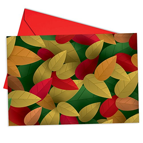Autumn Leaves Gift Box (B6698ASGG Box Set of 12 Season's Leaves Seasons Greetings Greeting Card Featuring a Graphic Interpretation of Falling Leaves, with Envelopes)