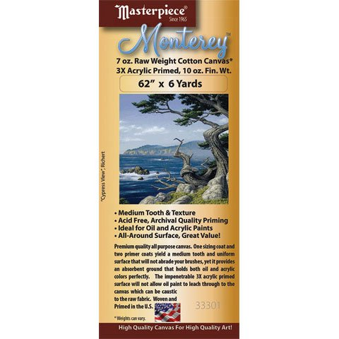 Masterpiece - Monterey Acrylic Primed Cotton Canvas Roll - 72'' x 6 yds. by Masterpiece