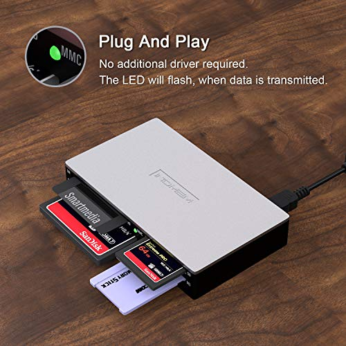 SmartMedia All-in-1 USB Universal Card Adapter Slim Hub Read Smart Media, xD, SD, SDHC, SDXC, MMC, CF, MD, Camera Flash Memory Cards Mac, Linux