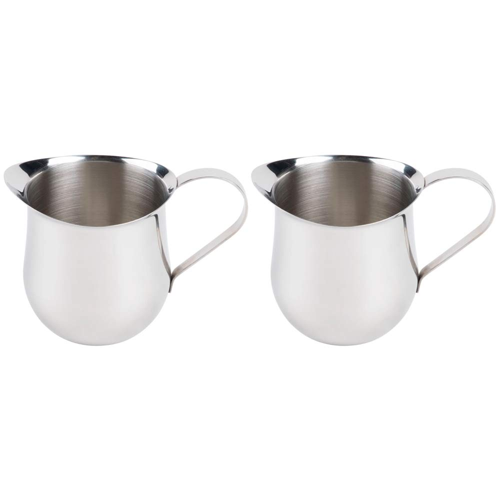 (2 Pack) 3-Ounce Stainless Steel Bell Creamer, 90 ml. Coffee Creamer Pitcher / Bell-Shaped Serving Cream Pitcher, Commercial Quality Bell Pitchers by Tezzorio