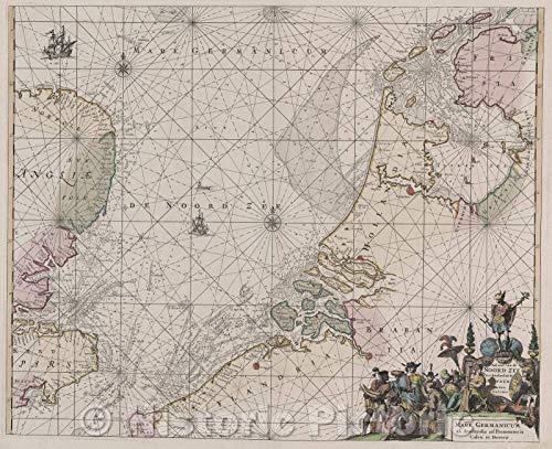 Map | Nieuwe paskaard van Hitland met de daar Omleggende Eylanden na de Nieuwe Aftekening Gemaakt by den Loswaarden en Onvermoeyden Hit en Zeeman Ian Bruyst, 1739 | Vintage Poster -