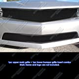 APS Compatible with 2010-2013 Chevy Camaro LT LS V6 Black Stainless Steel Mesh Grille Grill Combo C77661H