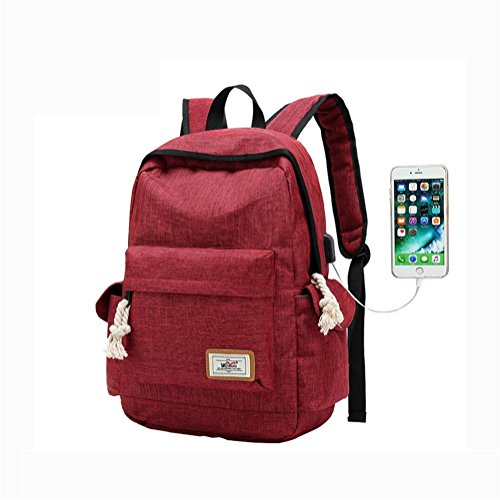 Leisure Backpack USB With port Travel Daypack Rucksack Nylon red Backpack charging drXYTdx