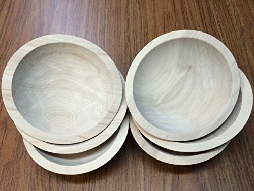 Set of 6 6-Inch Unfinished Solid Beech Wood Bowls