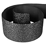"HipGirl Glitter Sparkle Ribbon for Hair Bows, Cheer Bows, Dance, Floral Designs, Gift Wrapping, Sewing... (3"" x 5yd, Black)"