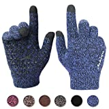 1. Achiou Winter Warm Touchscreen Gloves for Women Men Knit Wool Lined Texting (Blue, M)