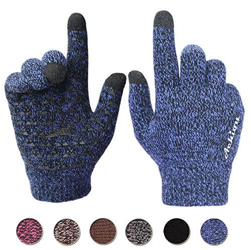 Achiou Winter Warm Touchscreen Gloves for Women Men Knit Wool Lined Texting (Blue, L)