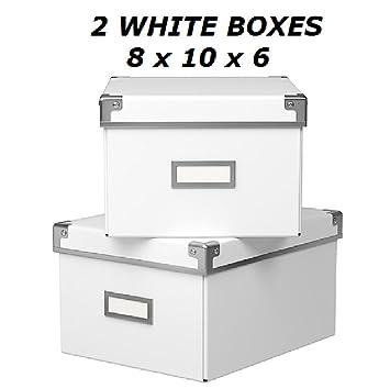IKEA KASSETT DVD cajas de almacenamiento con tapa, 2 unidades, color blanco, 8