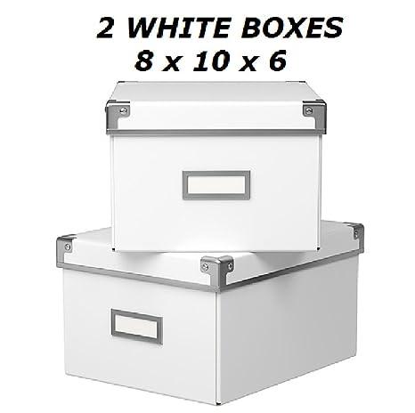 Ikea Kassett Dvd Scatole Portaoggetti Con Coperchio 2 Pezzi Bianco