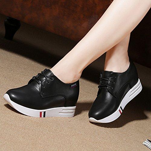 Ciabatta Donna Wedge Casual Sneaker Lace-up Aumento Altezza Moda Metà Superiore Scarpe Da Viaggio Nere