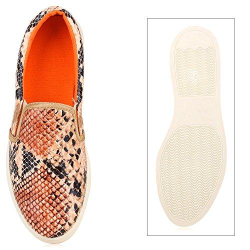 Stiefelparadies Damen Sneakers Slip-Ons Jeans Denim Metallic Slipper Flandell Hellbraun Snake