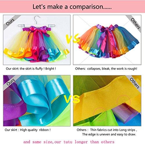 MOLFROA Baby Girls Colorful Layered Dance Outdoor Rainbow Tutu Skirt (Small/1-3 Years, Rhinestone Rainbow) by MOLFROA (Image #5)