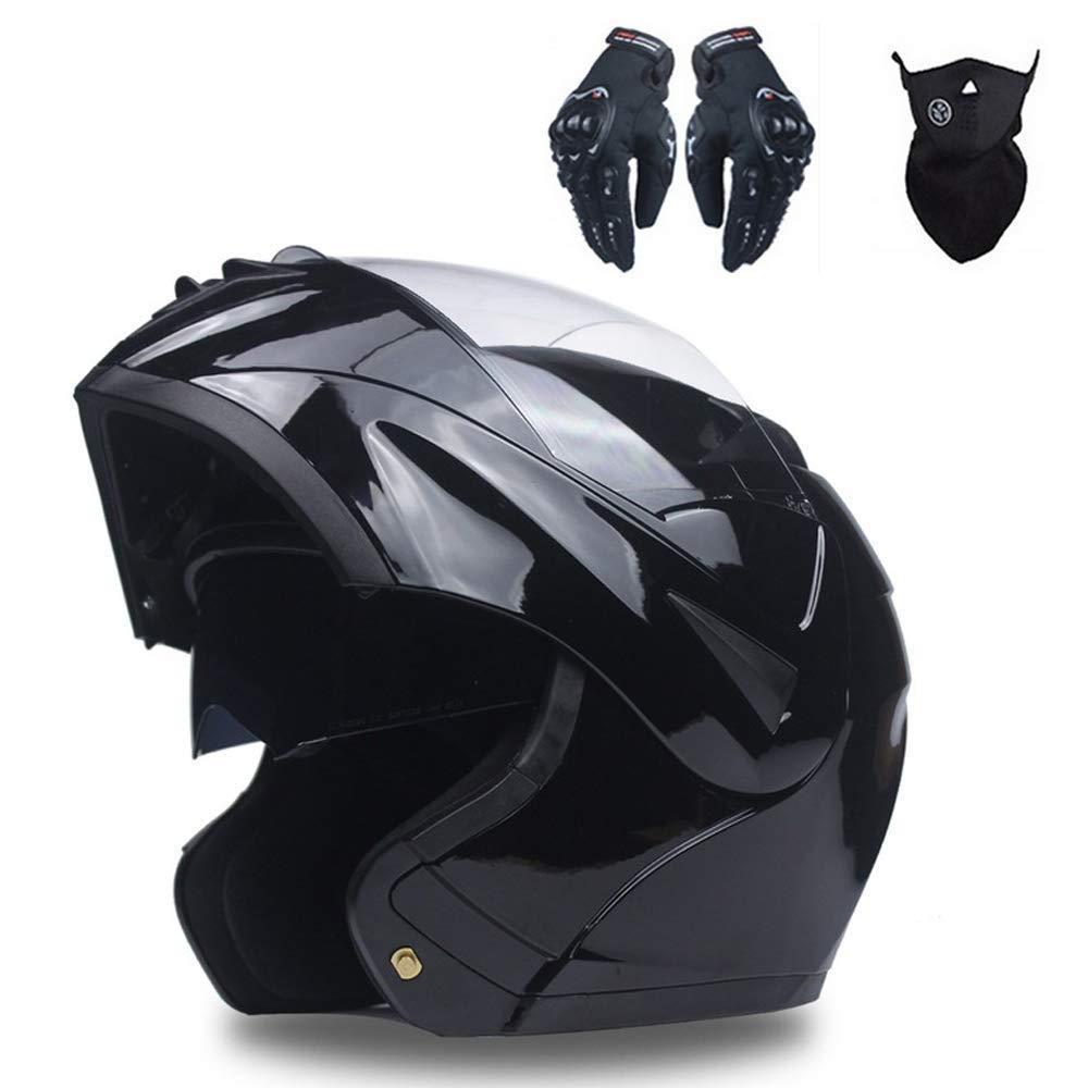 con Guanti Maschera MatteBlack,L 3 PCS Apribili e Modulare Integrale Casco Motocicletta Scooter Motorino Doppio Visiera Caschi Moto Set Professionale Casco Moto per Donna Uomo Adulto