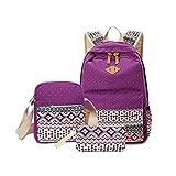 Feccoe 3pcs Geometry Dot Casual Lightweight Canvas Large Backpack Laptop Bag Shoulder Bag Pencil Case (purple)