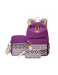 Feccoe 3pcs Geometry Dot Casual Lightweight Canvas Large Backpack Laptop Bag Shoulder Bag Pencil Case (purple)