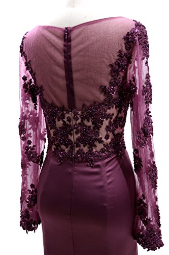 Bride Evening Dress Women Sleeves Weinrot Mother Illusion MACloth Gown of Lace Long the vRqnAWWa0