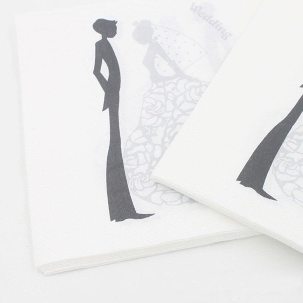 Amosfun Lot de 100 Serviettes de Table en Papier pour Mariage Motif mari/ée et mari/ée