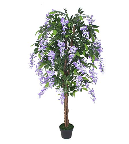 AMERIQUE Gorgeous 5 Nuresery Tech, w Gorgeous & Unique 5 Feet Purple Silk Wistera Tree Artificial Plant with Nursery Plastic Pot, Real Touch Technology, with UV Protection, Super Quality