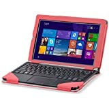 Asus T300 Chi case, KuGi ® High quality Leather Keyboard Portfolio Stand Cover Case for Asus Transformer Book T300 Chi Tablet and Keyboard (Red)