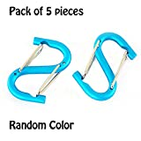 Ezyoutdoor 5 pcs Carabiner Stainless Steel Small Quickdraw Carabiner Safety Buckle Locking Dual Lock for Bivouac Picnic Camping Travel Survival Outdoor Sports