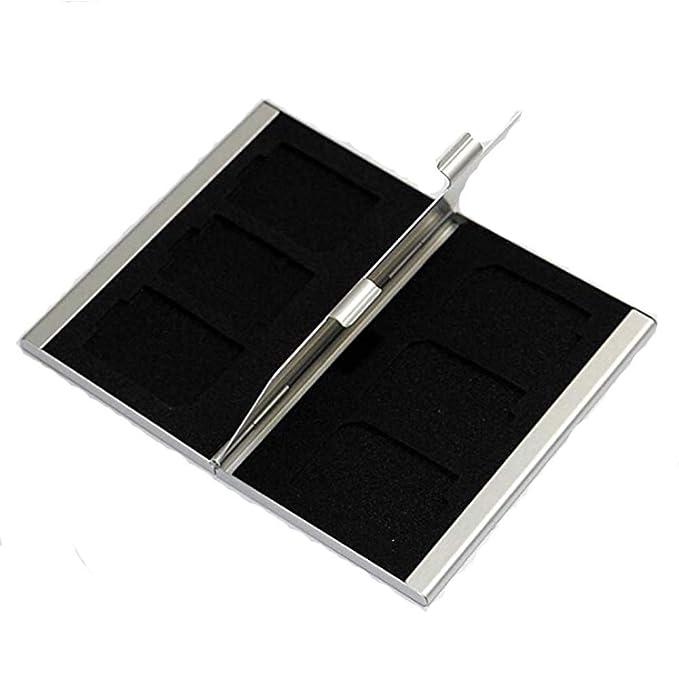merfet 6 ranuras caja de almacenamiento de aluminio Tarjeta ...