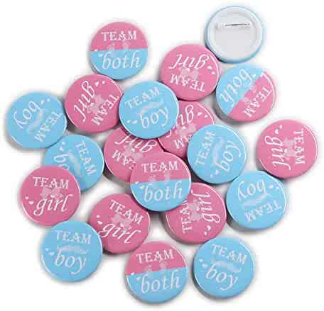 Team Girl & Team Boy Button Pins - Gender Reveal Party Games Baby Shower Party Ideas, Wear Your Guess, Girl or Boy, He or She Pin-Back Buttons (Set of 20, Round 1.5