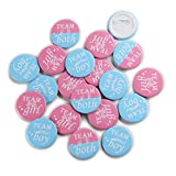 """Team Girl & Team Boy Button Pins - Gender Reveal Party Games Baby Shower Party Ideas, Wear Your Guess, Girl or Boy, He or She Pin-Back Buttons (Set of 20, Round 1.5"""", Pink & Blue)"""