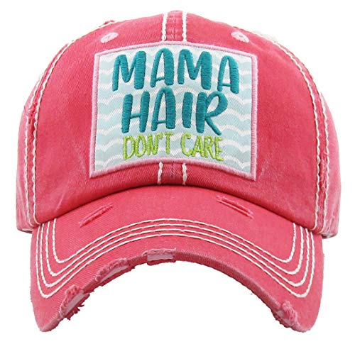 - H-212-MHDC52 Distressed Baseball Cap Vintage Dad Hat - Mama Hair Don't Care (Coral)